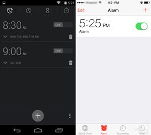 Android 4.4 KitKat vs iOS 7:timer
