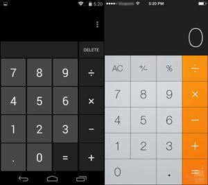 Android 4.4 KitKat vs iOS 7:calc