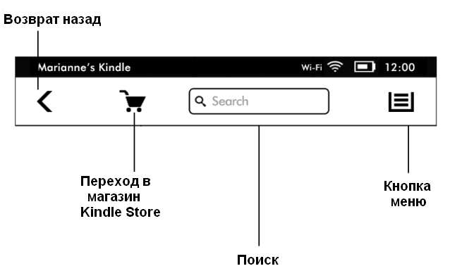 New toolbar Kindle Touch